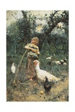 The Guardian of the Chickens, 1877 Giclee Print by Francesco Paolo Michetti