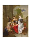 Elegant Company Playing Backgammon Giclee Print by Nicolas Arnoult
