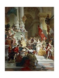 Goddess Minerva Awarding Prizes to the Arts, 1884 Giclee Print by Giuseppe Mancinelli