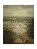 France, Versailles, Perspective View of Gardens and Grand Trianon Building Giclee Print by Pierre-nolasque Bergeret