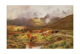 A Highland Drove at Strathfillan, Perthshire Giclee Print by Louis Bosworth Hurt