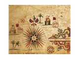 Portolan Chart Depicting Tripolitania, Africa and Wind Rose, 1631 Giclee Print by Francesco Paolo Michetti