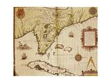Map of Florida and Cuba, 1563 Giclee Print by Theotokos Kykkotissa