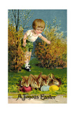 Frohe Ostern, Junge Entdeckt Osterhasen, Ostereier Giclee Print