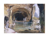 Bathers Inside the Cave, Naples, 1858 Giclee Print by Giacinto Gigante