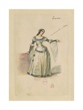 France, Paris, Costume Sketch for Leonora in the Troubadour Giclee Print by Giuseppe Zauli