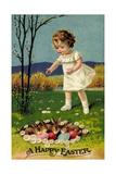 Happy Easter, Girl, Rabbits, Easter Eggs, Nest Giclée-tryk