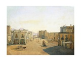 Largo Del Castello with the Lantern from Molo Pier in Naples, 1825 Giclee Print by Franz Alt