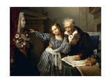 Old Man Pointing Out Maria Luigia's Herm to His Granddaughter, Circa 1830 Giclee Print by Giuseppe Molteni