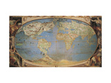 Map of World, Hall of Maps, Palazzo Farnese, Caprarola, Italy, 1574 Giclee Print by Giovanni Antonio Pellegrini