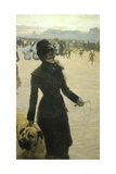 Returning from the Bois De Boulogne, Lady with a Dog, 1878 Giclee Print by Giuseppe De Nittis