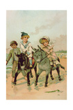 Children Riding Donkeys at the Seaside Giclee Print by Harry Brooker