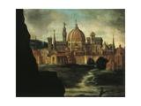 Portrait of Duke Alexander De Medici, Detail: City of Florence Giclée-Druck von Giorgio Vasari
