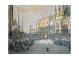 The Tricolour Flying over San Marco Piazza in Venice, 1848 Giclee Print by Luigi Querena