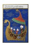 Prophet Noah and the Ark, Ottoman Miniature, Manuscript. Turkey, 16th Century Giclee Print