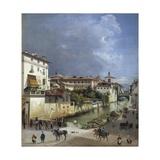 Milan, Naviglio Di Porta Romana, 1835 Giclee Print by Giovanni Battista Lusieri