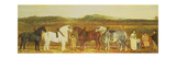A Farmer with His Family, Farm Workers, and Four Shire Horses Giclee Print by William Stott