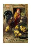 Präge Frohe Ostern, Hahn Mit Küken, Weidenkätzchen Giclee Print