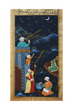 Astronomers While Studying the Moon and the Stars, Ottoman Miniature Wydruk giclee