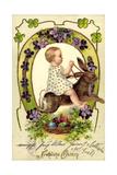 Präge Litho Glückwunsch Ostern, Kind Reitet Auf Hasen Giclee Print