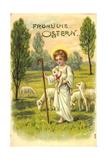 Künstler Frohe Ostern, Jesuskind Mit Lämmern, Heilig Giclee Print