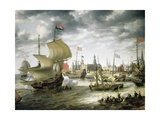 View of Copenhagen Port, 1630 Giclee Print by Pietro da Cortona
