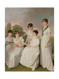 Portrait of a Mother and Her Four Daughters Giclee Print by Sir John Gilbert