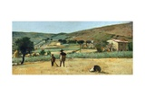 Countryside with Peasants Giclee Print by Simon Quaglio