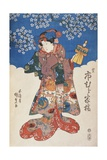 Woman in Kimono with Puppet and Background Decorated with Apple Blossoms Giclee Print by Utagawa Toyokuni