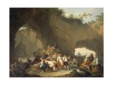 Ordinary People Having Lunch in Front of the Grotto Giclee Print by Pietro Fragiacomo