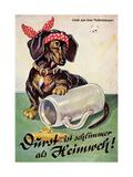 Künstler Durst Ist Schlimmer Als Heimweh, Dackel, Bierkrug, Hofbräuhaus Giclee Print