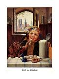 Künstler München, Kind'L, Bierkrug, Weißwurst, Dackel, Dom, Oktoberfest Giclee Print