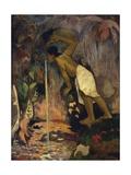 Tahiti, Painting of Papa Moe or Tahitian Woman Drinking at a Spring Giclee Print