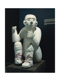 Mexico, Chichen Itza, Standard-Bearing Statue Used as Support for Altar Giclee Print