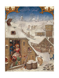 The Month of February, the Snowfall, Miniature from the Grimani Breviary, Folio 2, Verso, Flanders Giclee Print