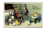 Künstler Frohe Ostern, Osterhase, Küken, Pfeife Giclee Print