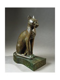 Bronze and Gold Statuette of Goddess Bastet as a Cat, also known as the Psamtik Cat Giclee Print