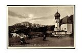 Au Berchtesgaden Bayer. Hochland, Rinder an Der Kirche, Wohnhaus, Felsen Giclee Print