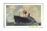 Künstler United States Lines, Dampfschiff S.S America Giclee Print