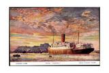 Künstler Cunard Line, R.M.S Andania, Dampfschiff Giclee Print