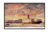 Künstler Cunard Line, R.M.S. Andania, Dampfer Giclee Print