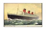 Künstler Cunard Line, R.M.S. Queen Mary, Dampfschiff Giclee Print