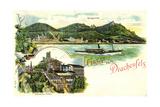 Litho Drachenfels Königswinter, Dampfer,Plateau U. Wein Giclee Print