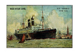 Künstler Red Star Line, S.S. Arabic Near a City Giclee Print