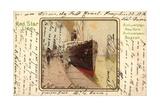 Künstler Litho Red Star Line, Dampfer Im Hafen Giclee Print