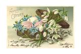 Präge Frohe Ostern, Ostereier Im Korb, Blumen Giclee Print