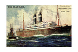 Künstler Red Star Line, Westernland, Steamer, Dampfer Giclee Print