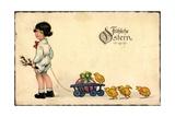 Glückwunsch Ostern, Mädchen, Weidenkätzchen, Küken Giclee Print
