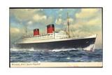 Cunard Line, R.M.S. Queen Elizabeth, Dampfschiff Giclee Print