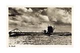 Deutsches U Boot Beim Auftauchen in Fahrt Auf See Giclee Print